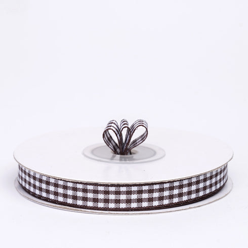 "25 Yards 3/8"" Chocolate Gingham Checkered Ribbon"