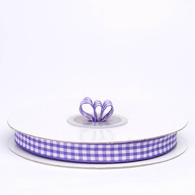 "25 Yards 3/8"" Eggplant Gingham Checkered Ribbon"