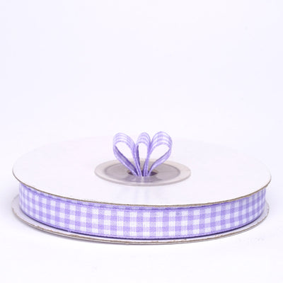 "25 Yards 3/8"" Lavender Gingham Checkered Ribbon"