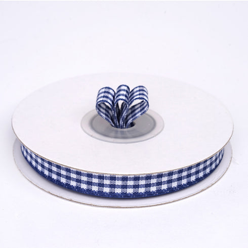 "25 Yards 3/8"" Navy Blue Gingham Checkered Ribbon"