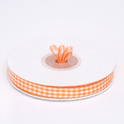 "25 Yards 3/8"" Orange Gingham Checkered Ribbon"