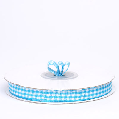 "25 Yards 3/8"" Turquoise Gingham Checkered Ribbon"