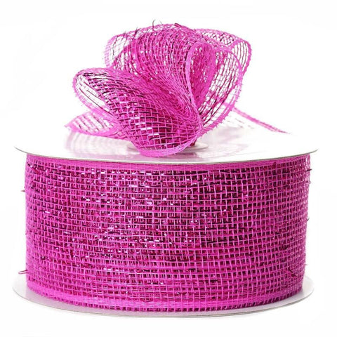 "What a MESH! 2.5"" x 25yards Shiny Ribbons Fushia"