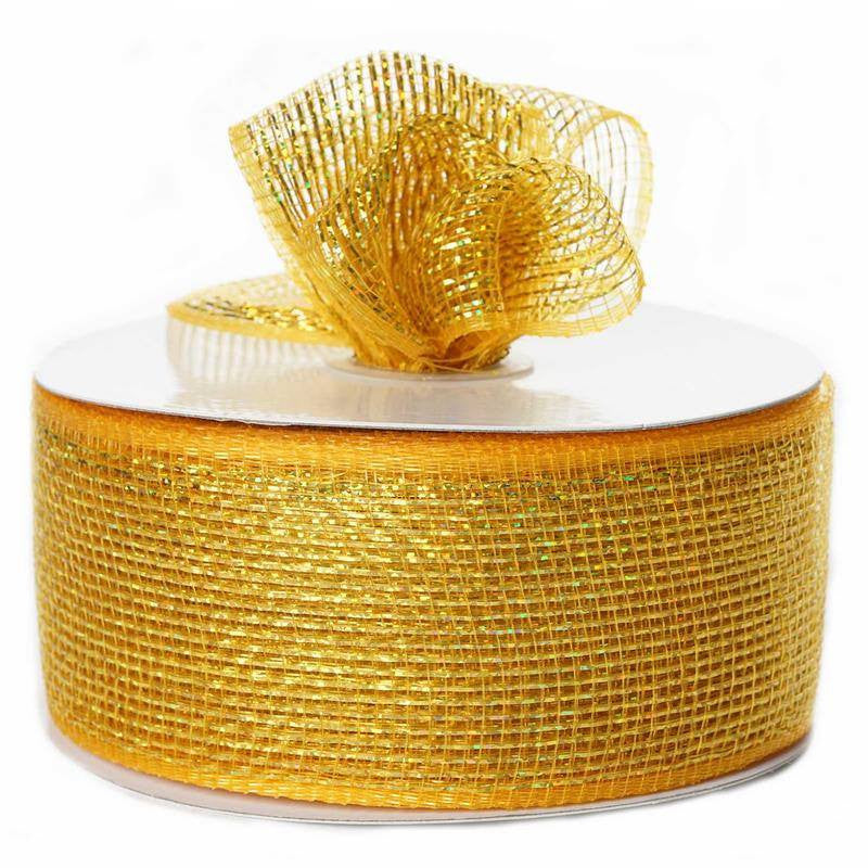 "What a MESH! 2.5"" x 25yards Shiny Ribbons Gold"