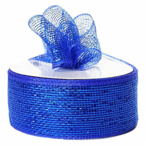 "What a MESH! 2.5"" x 25yards Shiny Ribbons Royal Blue"