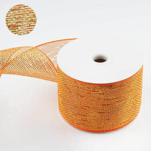 "25 Yards 4"" Orange Sparkling Mesh Ribbons"