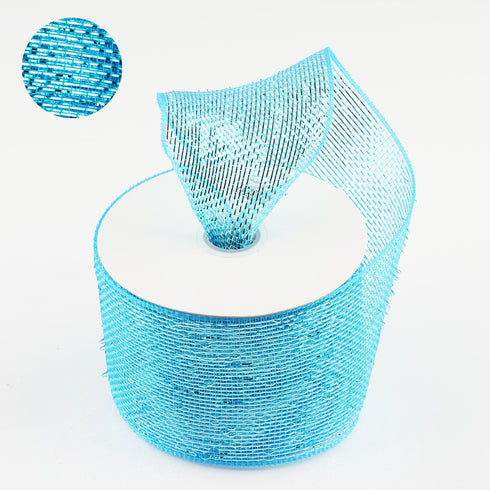 "25 Yards 4"" Turquoise Sparkling Mesh Ribbons"