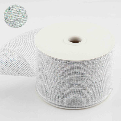 "25 Yards 4"" White Sparkling Mesh Ribbons"