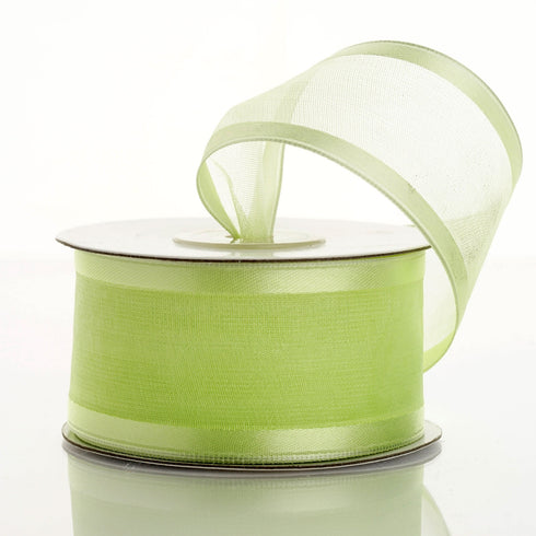 "10 Yards 1.5"" Apple Green Wholesale Sheer Organza Wired Ribbon"