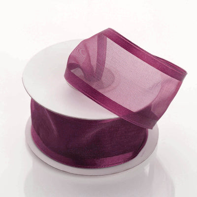 "10 Yards 1.5"" Eggplant Wholesale Sheer Organza Wired Ribbon"