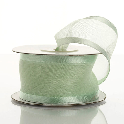 "10 Yards 1.5"" Mint Wholesale Sheer Organza Wired Ribbon"