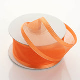 "1.5"" Organza Ribbon With Wire Edge - Coral Orange - 10 Yard"