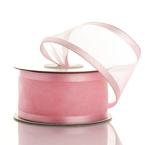 "1.5"" Organza Ribbon With Wire Edge - Pink - 10 Yard"