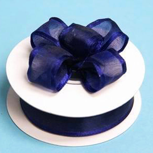 "10 Yards 7/8"" DIY Navy Wired Organza Ribbon For Craft Dress Wedding"