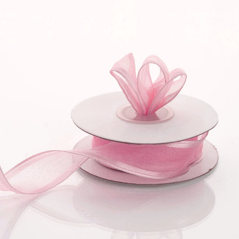 "10 Yards 7/8"" Pink Wired Organza Ribbon"