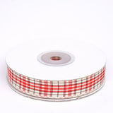 "25 Yards 5/8"" Red Distinct Plaid Ribbon"