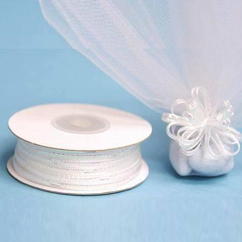 "1/8"" Pull Ribbon - White - 50 Yard"