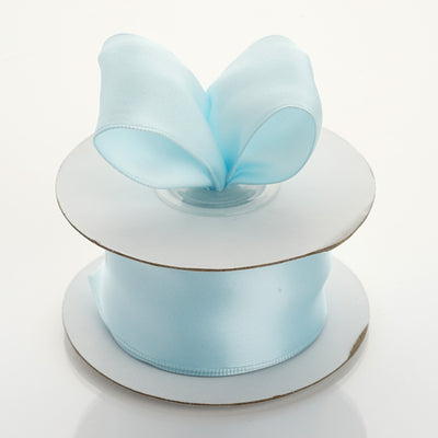 "10 Yards 1.5"" Light Blue Wired Satin Ribbon"