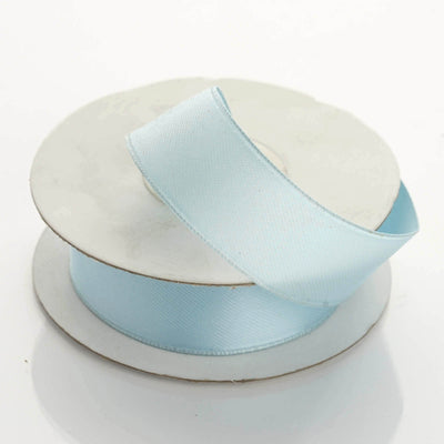 "10 Yards 7/8"" Light Blue Satin Wired Edge Ribbon"