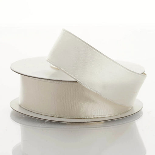"10 Yards 7/8"" Ivory Satin Wired Edge Ribbon"