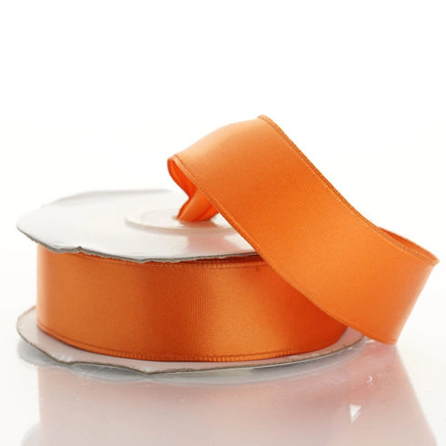 "10 Yards 7/8"" Orange Satin Wired Edge Ribbon"