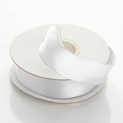 "10 Yards 7/8"" White Satin Wired Edge Ribbon"
