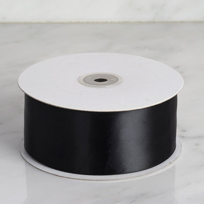 "50 yards 2"" Black Single Faced Satin Ribbon Wholesale"