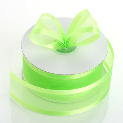 "25 Yard 1.5"" Apple Green Organza Ribbon With Satin Edges"
