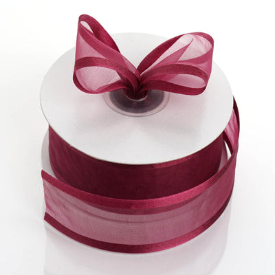 "25 Yard 1.5"" Burgundy Organza Ribbon With Satin Edges"