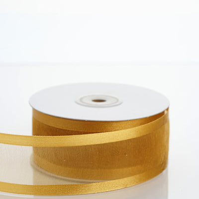 "25 Yard 1.5"" Gold Organza Ribbon With Satin Edges"
