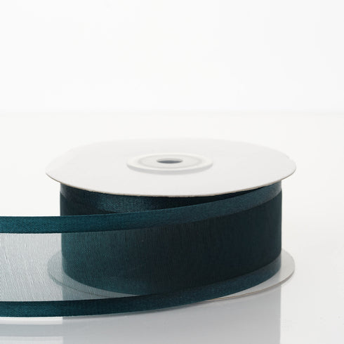 "25 Yards 1.5"" Hunter Emerald Green Organza Ribbon With Satin Edges"