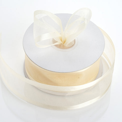 "25 Yards 1.5"" Ivory Organza Ribbon With Satin Edges"