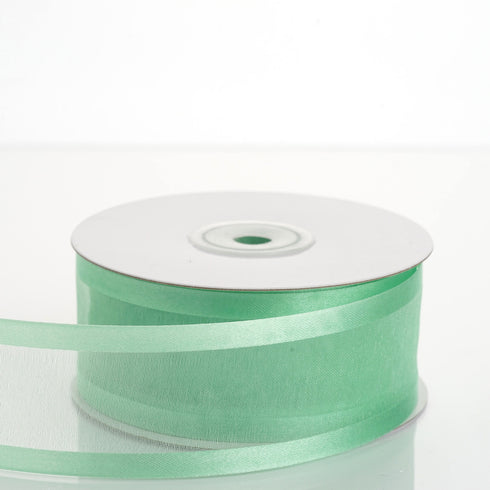 "25 Yards 1.5"" Mint Organza Ribbon With Satin Edges"