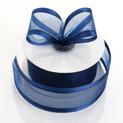 "25 Yard 1.5"" Navy Blue Organza Ribbon With Satin Edges"