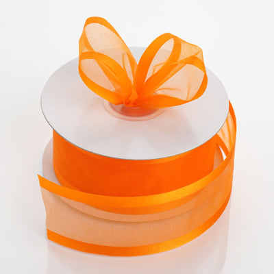 "25 Yard 1.5"" Coral Orange Organza Ribbon With Satin Edges"