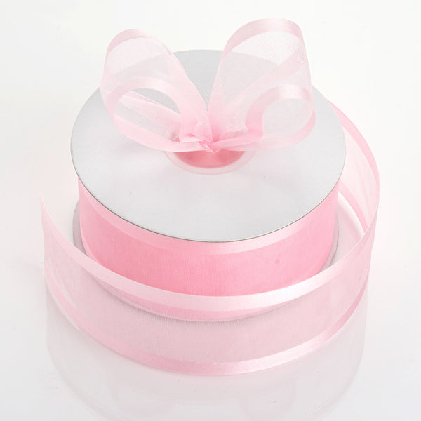 "1.5"" x 25Yards Pink Organza Ribbon With Satin Edges"