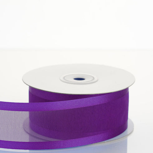 "25 Yards 1.5"" Purple Organza Ribbon With Satin Edges"