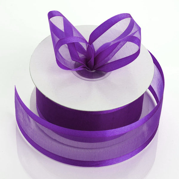 "1.5"" x 25Yards Purple Organza Ribbon With Satin Edges"