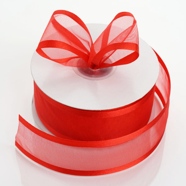 "1.5"" x 25Yards Red Organza Ribbon With Satin Edges"
