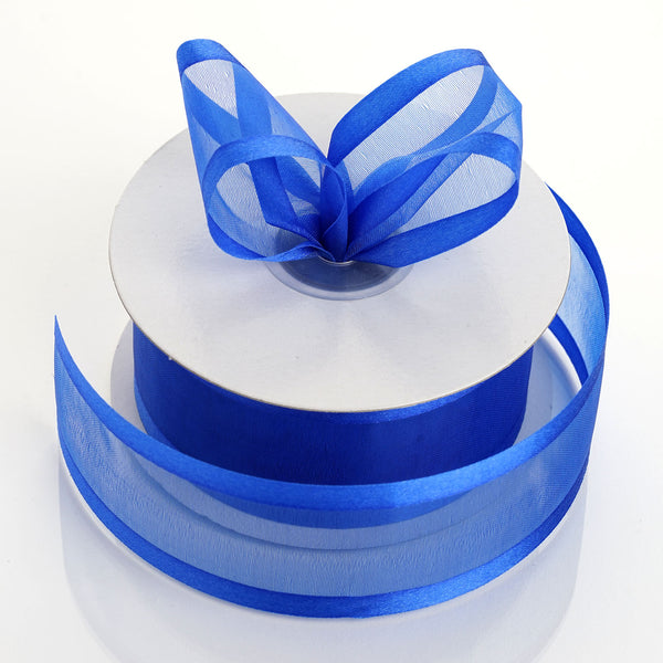 "1.5"" x 25Yards Royal Blue Organza Ribbon With Satin Edges"
