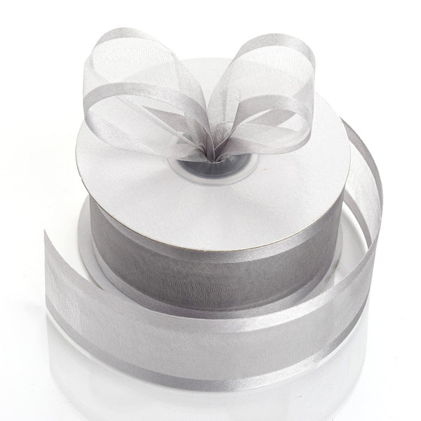 "25 Yards 1.5"" Silver Organza Ribbon With Satin Edges"