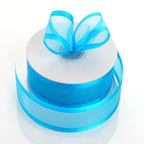 "25 Yards 1.5"" Turquoise Organza Ribbon With Satin Edges"