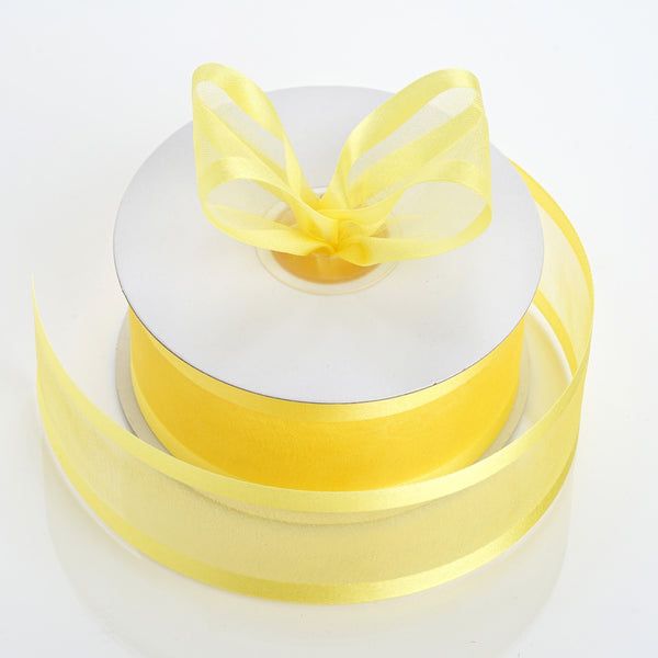 "25 Yards 1.5"" Yellow Organza Ribbon With Satin Edges"
