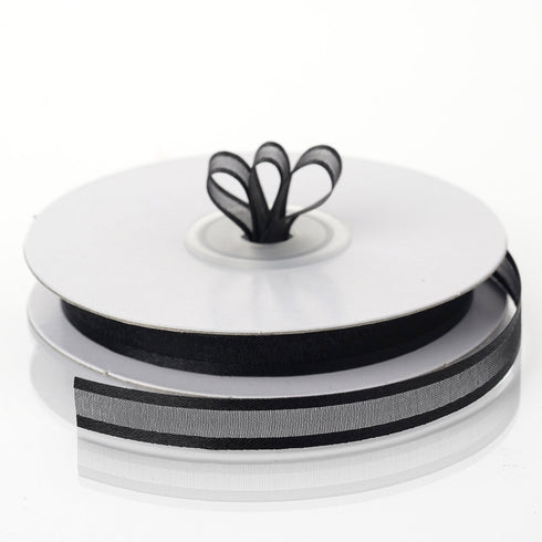 "25 Yards 3/8"" Black Organza Ribbon With Satin Edge"