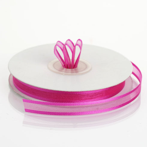 "25 Yards 3/8"" Fushia Organza Ribbon with Satin Edge"