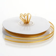 "25 Yards 3/8"" Gold Organza Ribbon with Satin Edge"