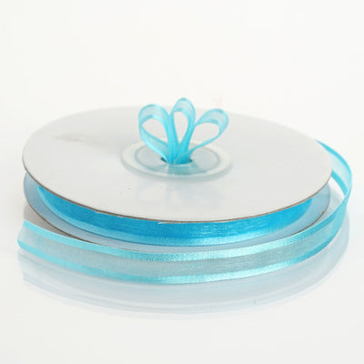"25 Yards 3/8"" Turquoise Organza Ribbon with Satin Edge"
