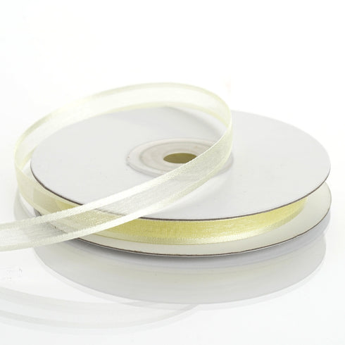 "25 Yards 3/8"" Yellow Organza Ribbon with Satin Edge"
