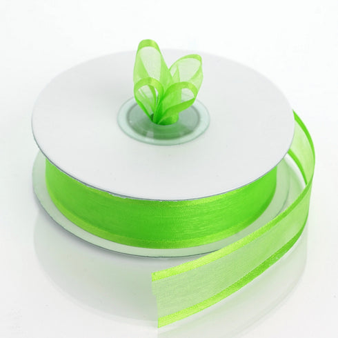 "25 Yards 7/8"" Apple Green Organza Ribbon with Satin Edge"