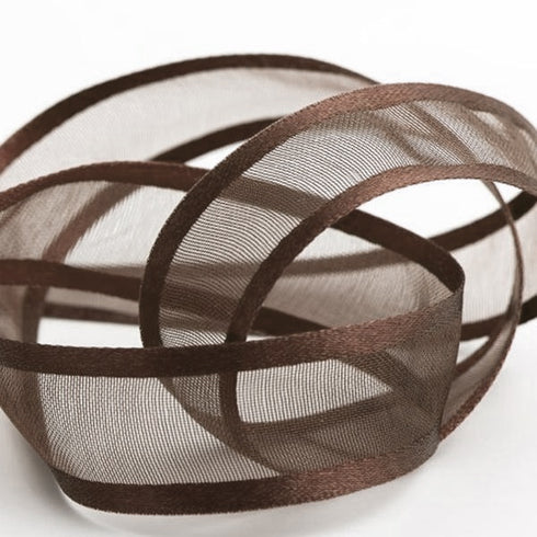 "25 Yards | 7/8"" DIY Chocolate Organza Ribbon With Satin Edge"